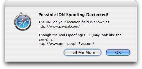 IDN Spoofing Block