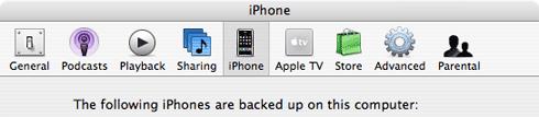 iPhone in den  iTunes Prefs