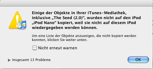 iTunes Weigerung