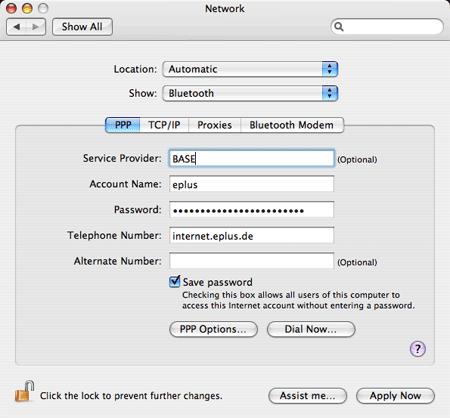 Netzwerkeinstellungen Bluetooth