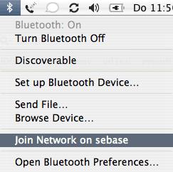 Bluetooth Menüleiste Join Network