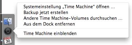 Time Machine Optionen