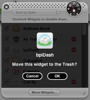 Widgets in den Müll